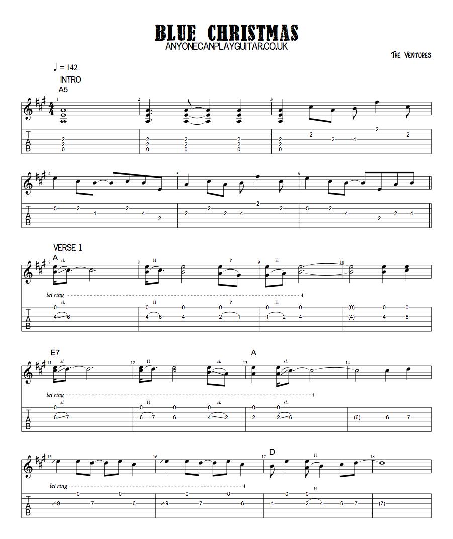 Christmas Music Downloadable.Blue Christmas Anyone Can Play Guitar